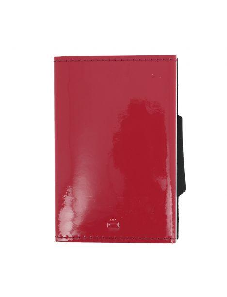 Porte carte Cascade slim Glossy, Aluminium et cuir venis rose Framboise, Ogon Design.
