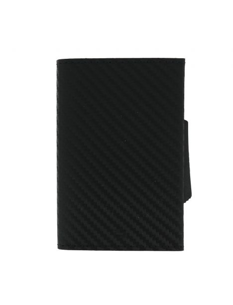 Porte carte Cascade Slim, Aluminium foncé et cuir imprimé carbone, Ogon Design.