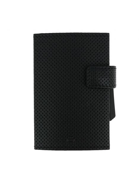 Porte carte Cascade, Aluminium et cuir vegan Traforato noir, Ogon Design.