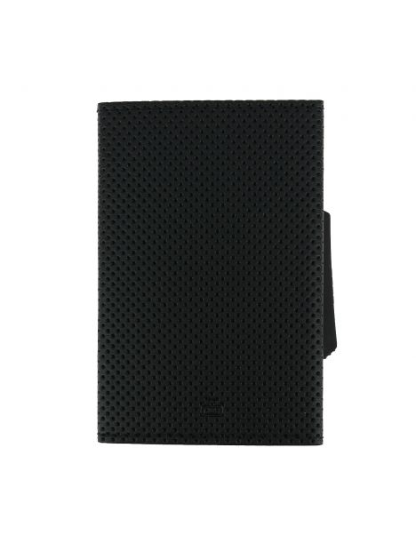 Porte carte Cascade Slim, Aluminium et cuir vegan, Traforato titane noir, Ogon Design.