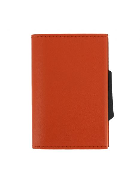 Porte carte Cascade Slim,  Aluminium orange et cuir orange, Ogon Design.
