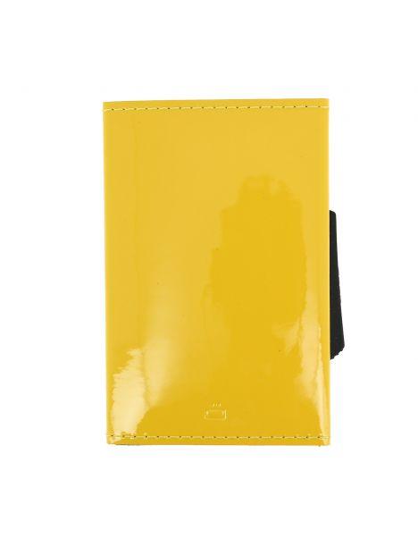 Porte carte Cascade slim Glossy, Aluminium et cuir venis jaune citron, Ogon Design.