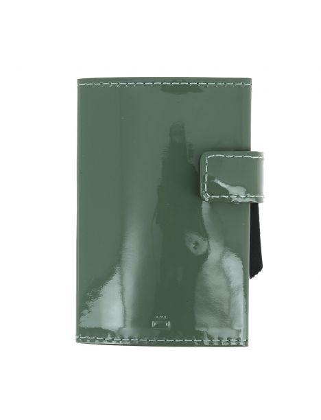 Porte carte Cascade, Aluminium et cuir glossy lichen, Ogon Design.