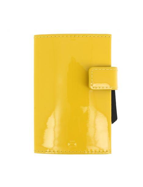 Porte carte Cascade, Aluminium et cuir glossy citrus, Ogon Design.