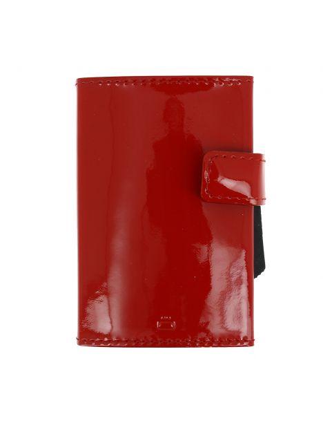Porte carte Cascade, Aluminium et cuir glossy cherry, Ogon Design.