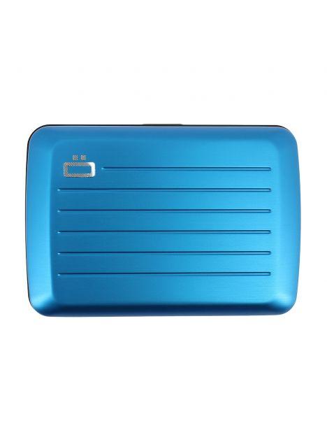 Porte carte STOCKHOLM V2, Blue métal - Fermoir métal. Ogon Design.