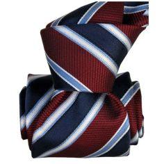 Cravate Segni Disegni LUXE, Faite main Pise. Rayée marine et Bordeaux