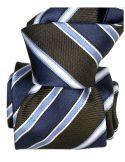 Cravate Segni Disegni LUXE, Faite main Pise. Rayée marine et Marron Segni et Disegni Cravates