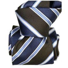 Cravate Segni Disegni LUXE, Faite main Pise. Rayée marine et Marron