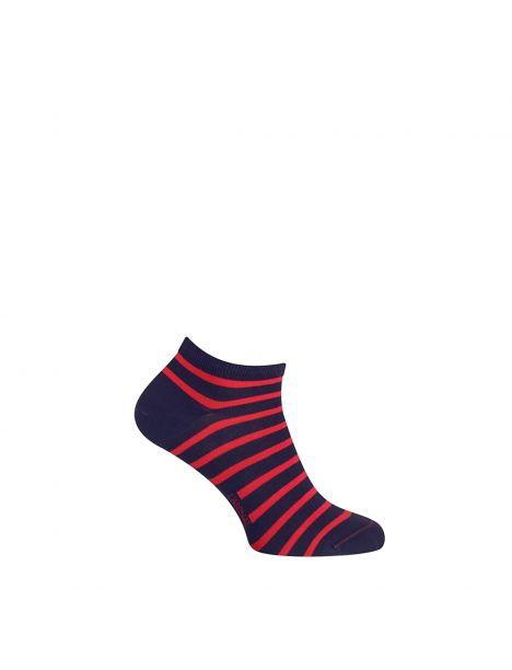 Mini socquette coton, marinière. Rouge et Marine Nationale