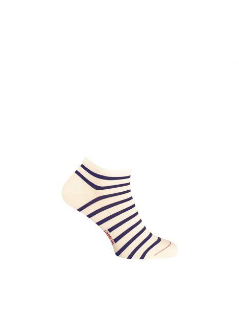 Mini socquette coton, marinière. Ecru Labonal Chaussettes