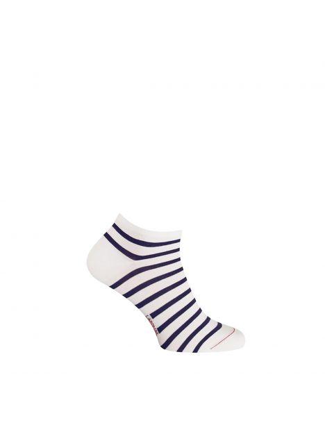Mini socquette coton, marinière. Blanc