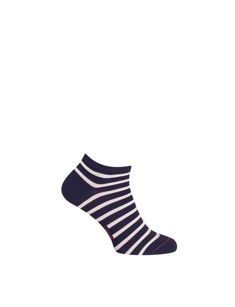 Mini socquette coton, marinière. Bleu Marine