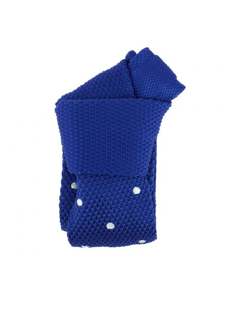 Cravate Tricot à pois. Elton bleu roi