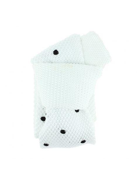 Cravate Tricot à pois. Elton blanc sucre