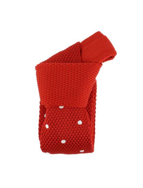 Cravate Tricot à pois. Elton rouge