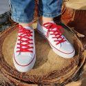 lacets sneaker, plats et large en coton, Rouge Vermillon Les lacets Français Lacets