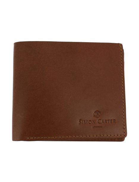 Portefeuille Slim jean's, en cuir Marron orangé, Simon Carter London