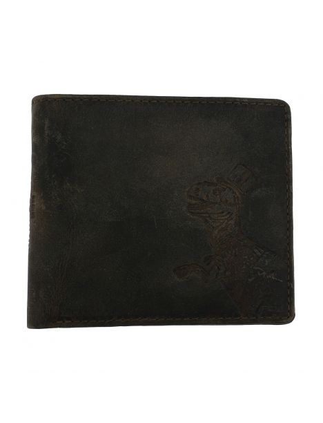 Portefeuille T-Rex avec zip, en cuir huilé, Simon Carter London