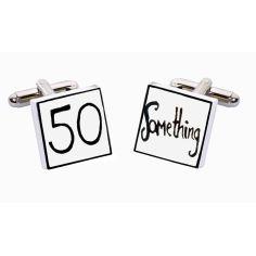 """Bouton de Manchette """"50 ans et des poussières..."""", Sonia Spencer """"Anniversaire, How Old?"""" China Bone"""