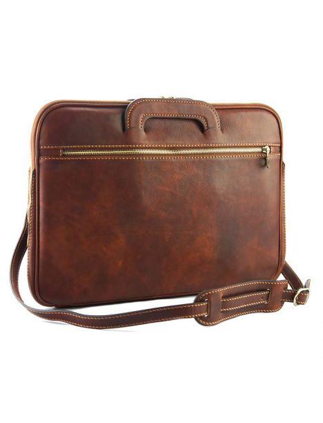 Porte documents en cuir de veau marron, JOUR. Tony et Paul.