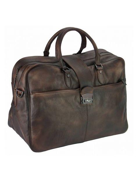 Sac de voyage en cuir vintage marron foncé, RAIMONDO. Tony et Paul.