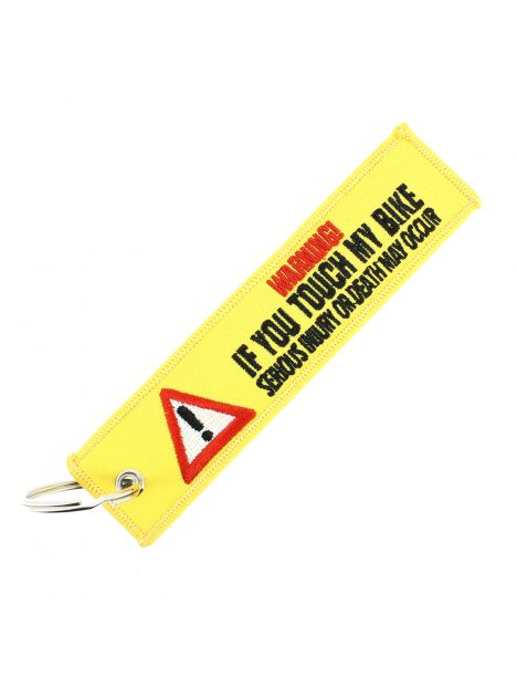Porte clés WARNING - IF YOU TOUCH MY BIKE Jaune