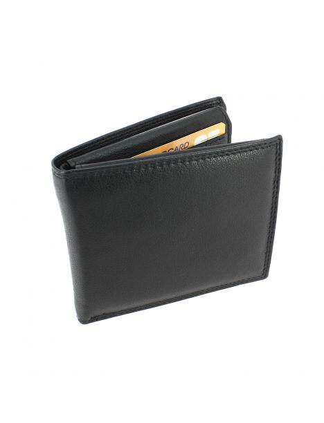 Portefeuille en cuir noir souple double rabat, CLASSICO, Tony et Paul.