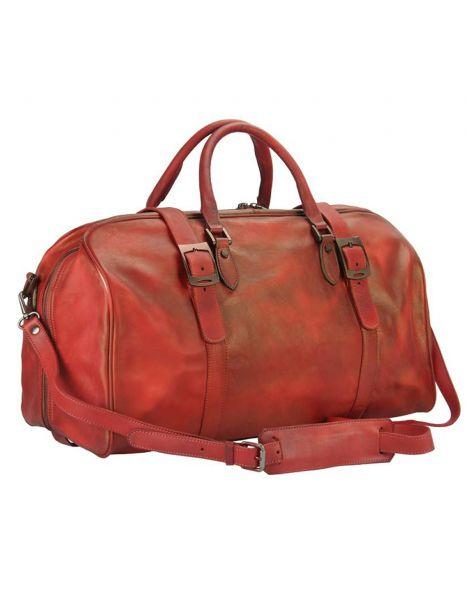 Sac de voyage en cuir vintage marron rouge, SERAFINO. Tony et Paul.