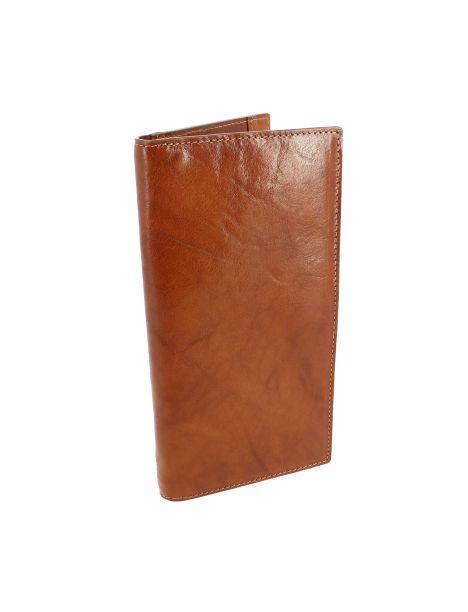 Portefeuille XL en cuir de veau marron clair BERNARDO V, Tony et Paul.