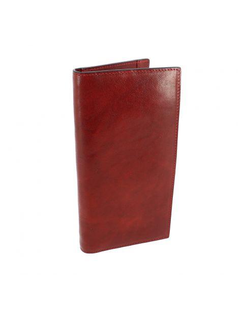 Portefeuille XL en cuir de veau marron rouge BERNARDO V, Tony et Paul.