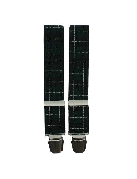 Bretelle 4 clips, à carreaux Ecossais vert bandes blanche