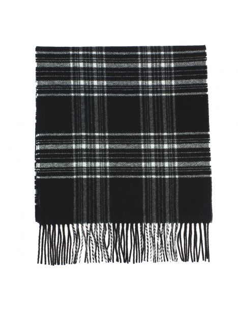 Echarpe GLASGOW II tartan noir, pure laine, Tony et Paul