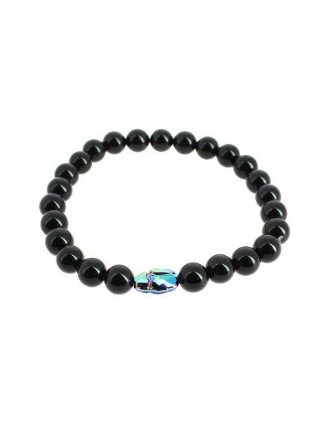 Bracelet perles d'Onyx et scarabée, Simon Carter