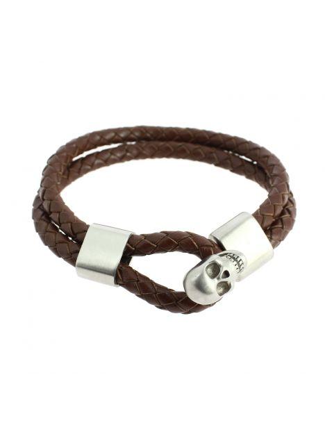Bracelet cuir tressé marron et crâne, Simon Carter