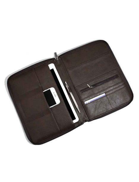 Porte documents et tablettes, Stacker, cuir végétalien marron