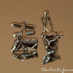 Bouton de Manchette CLJ Tête de chevaux - cheval pur sang