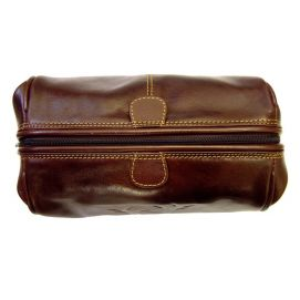 Trousse de toilette en cuir, Tyler and Tyler, marron, RUT