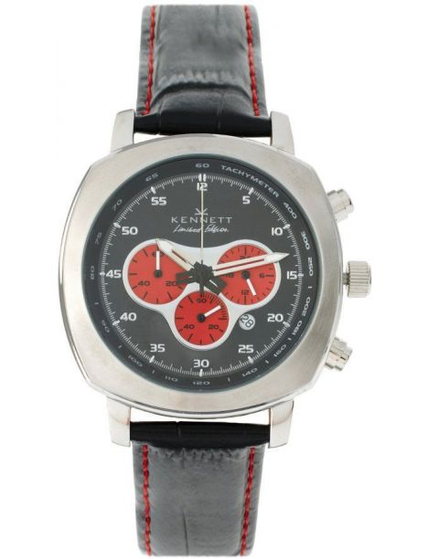 Montre, Kennett, Challenger black and red chronograph Kennett Montres