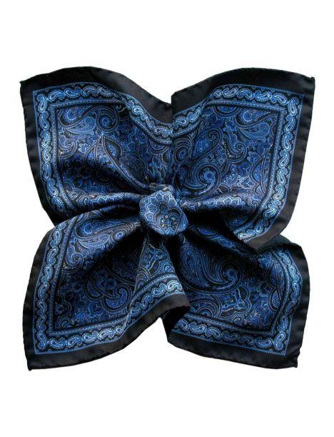 Pochette soie, Paisley Bleu Segni et Disegni Pochettes