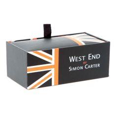 Bouton de manchette Simon Carter, West End, Herringbone Bleu