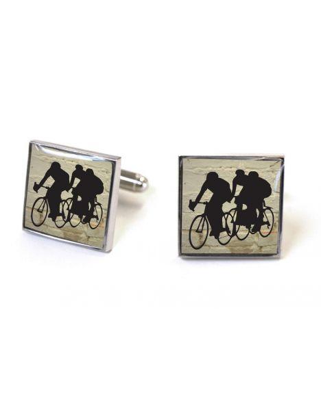 Boutons de manchette, Les coureurs cyclistes. Racers white brick Tyler & Tyler Bouton de manchette