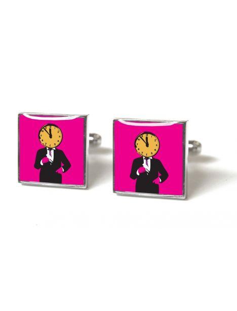 Boutons de manchette, Le gardien du temps, rose - Time man bright pink Tyler & Tyler Bouton de manchette