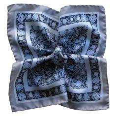 Pochette soie, Auteuil bleu