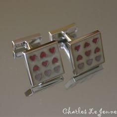 Bouton de Manchette CLJ, 9 petits coeurs