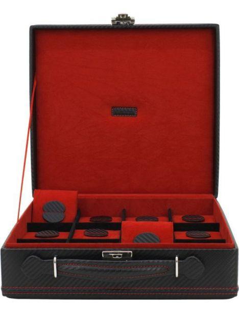 Malette 12 montres, Carbone, fibre de carbone intérieur rouge Friedrich 23 Ecrins