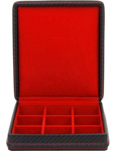 Ecrin 9 boutons de manchette, Carbone, fibre de carbone intérieur rouge Friedrich 23 Ecrins