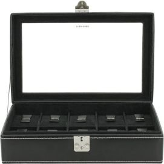Ecrin 10 montres, London, cuir noir Friedrich 23 Ecrins