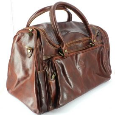Nerone, sac voyage, cuir marron clair, chestnut