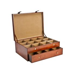 Coffret rangement 24 cravates, GREGOR, cuir de buffle Cognac